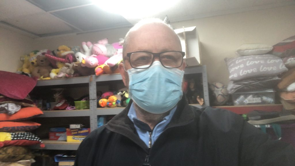 Penmann - John Kirwin masked up for his day at Preloved Pudsey